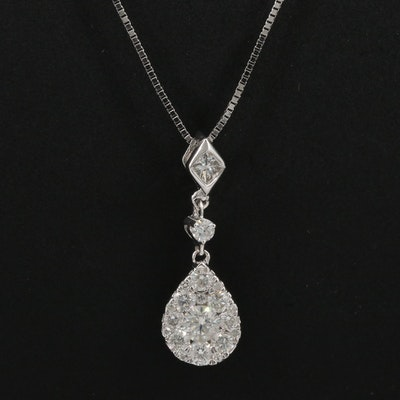 14K Diamond Cluster Teardrop Pendant Necklace