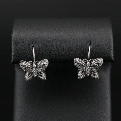 10K Diamond Filigree Butterfly Earrings