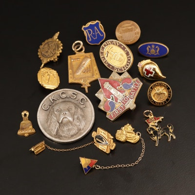 Assortment of Enamel Lapel Pins and Sterling Brooch Featuring Historical Themes