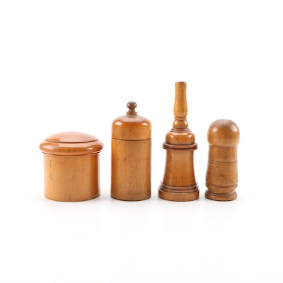 Maple Kitchen Accessories Including Salt and Pepper Shakers, Mid-20th Century