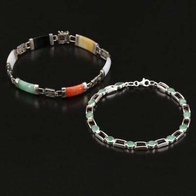 Sterling Silver Jadeite, Black Onyx and Aventurine Link Bracelets