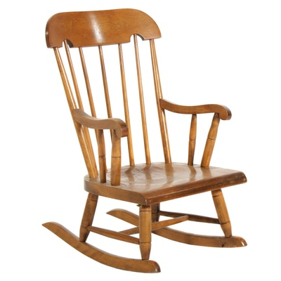 "Nichols & Stone Co. ""Old Pine"" Child's Rocking Chair, Mid-20th Century"