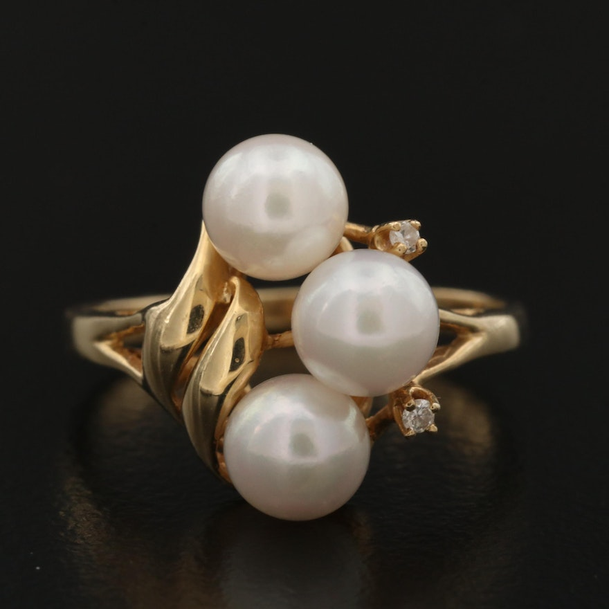 14K Pearl Ring with Diamond Accents