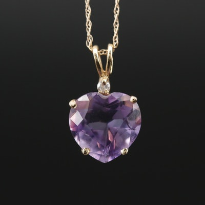 14K Amethyst and Diamond Heart Pendant on Serpentine Chain