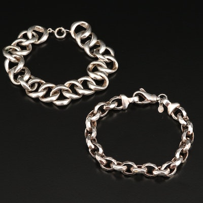 Sterling Silver Curb Link and Faceted Cable Link Bracelets