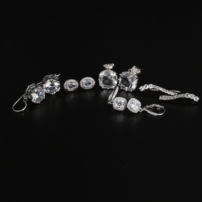 Selection of Sterling Silver and Cubic Zirconia Earrings Featuring Pandora