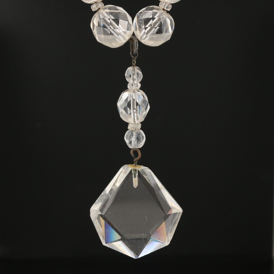 Antique Faceted Bead Glass Necklace with Drop and 10K Clasp