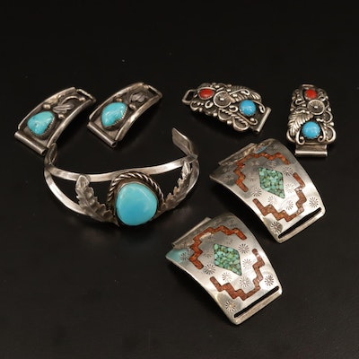 Southwestern Style Sterling Silver Gemstone Child's Cuff Bracelet and Watch Lugs