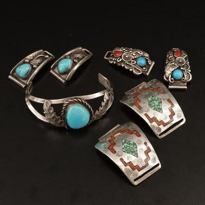 Southwestern Style Sterling Silver Gemstone Child's Cuff Bracelet and Watch Lugs