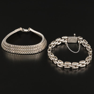 Link Bracelet Assortment Including Mexican Silver