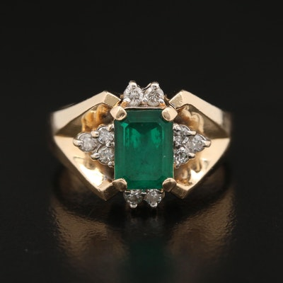 Vintage 14K Emerald and Diamond Ring
