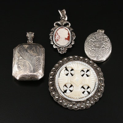 Vintage Sterling Lockets and Pendant Featuring Diamond and Mother of Pearl