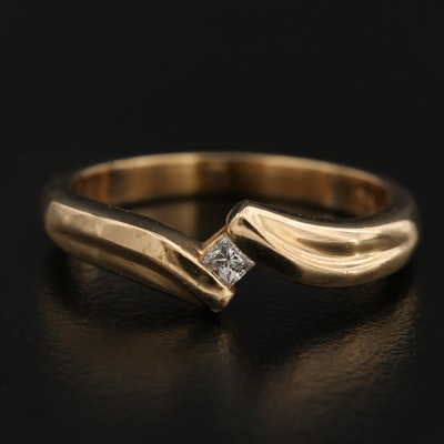 14K Diamond Solitaire Bypass Ring