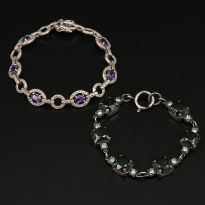 Sterling Silver Amethyst Link Bracelet with Glass Link Bracelet