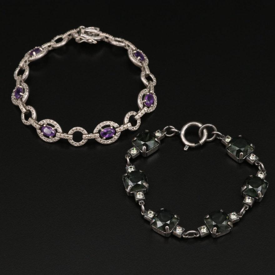 Sterling Silver Amethyst Link Bracelet with Glass Link Bracelet