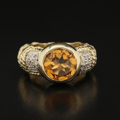 Cassis 18K Citrine and Diamond Ring
