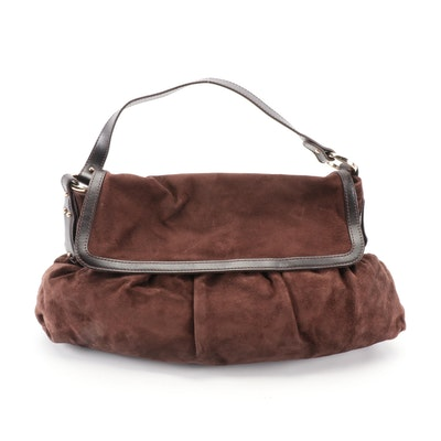 Fendi Chef Large Shoulder Bag in Dark Brown Suede with Leather Trim