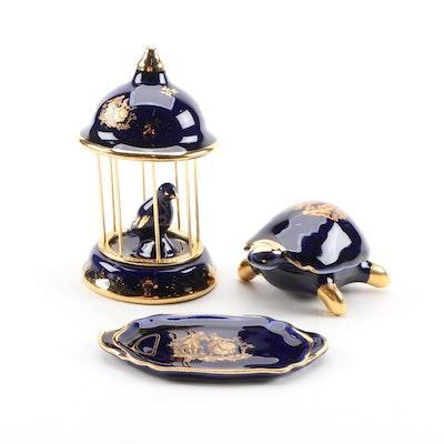 Castel Limoges Cobalt and Gilt Porcelain Turtle Trinket and Décor