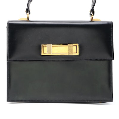 Italian Leather School of Florence Black Leather Front Flap Handbag, Vintage