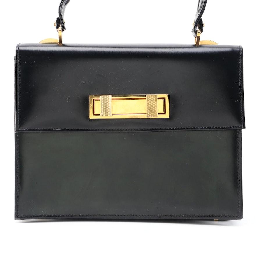 Italian Leather School of Florence Black Leather Front Flap Handbag, Vintage
