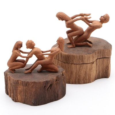 Hand-Carved Wood Erotic Figural Boxes