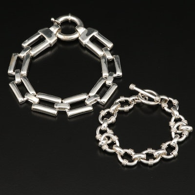 Sterling Silver Rectangle and Circular Cable Chain Bracelets