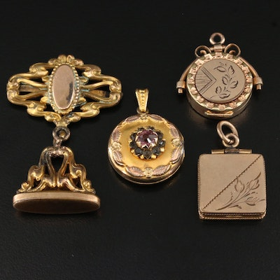 Victorian Watch Fob and Lockets Featuring Rhinestone Accents