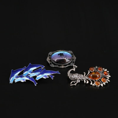 Sterling Silver Amber, Blue Morpho Wing and Enamel Brooches Including Hoffman