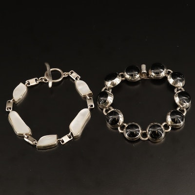 Sterling Silver Mother of Pearl and Black Glass Bracelets