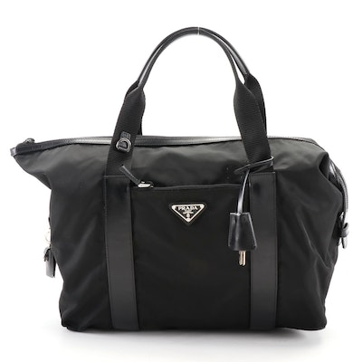 Prada Weekender Bag in Black Nylon and Smooth Leather with Padlock and Keys