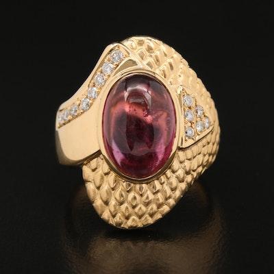 18K Pink Tourmaline and Diamond Snakeskin Pattern Ring