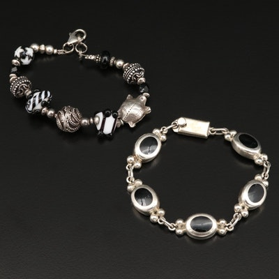 Sterling Silver Bracelets with Lampwork Glass