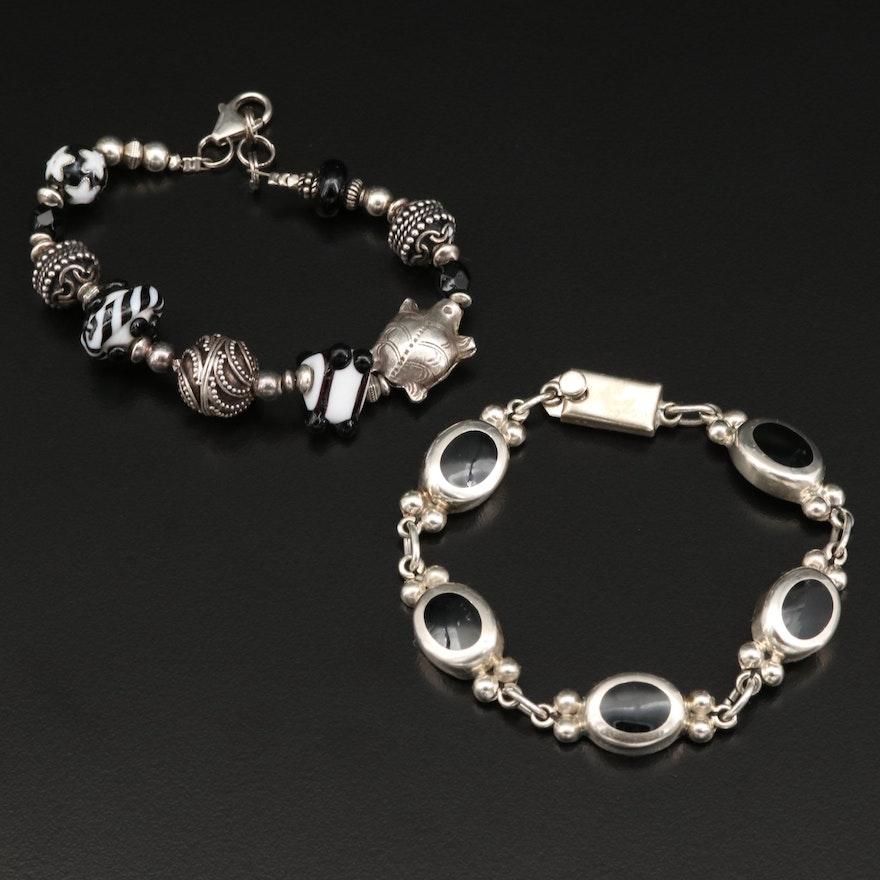 Sterling Silver Bracelets with Lampwork Glass