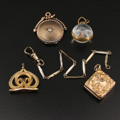 Victorian Watch Chain, Watch Fobs, and Accessories with Rhinestone Accents