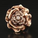18K Rose and White Gold Diamond Rose Ring