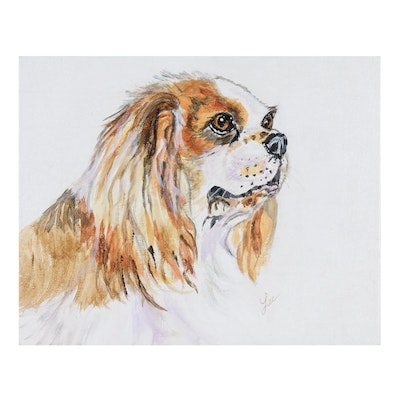 "C.J. Lee Acrylic Painting ""Cocker Spaniel"", 2015"