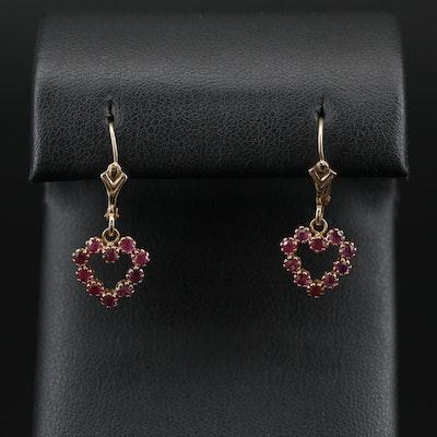 14K Ruby Heart Dangle Earrings