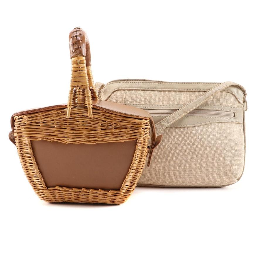 Koret Leather and Wicker Basket Bag with SM Co. Shoulder Bag
