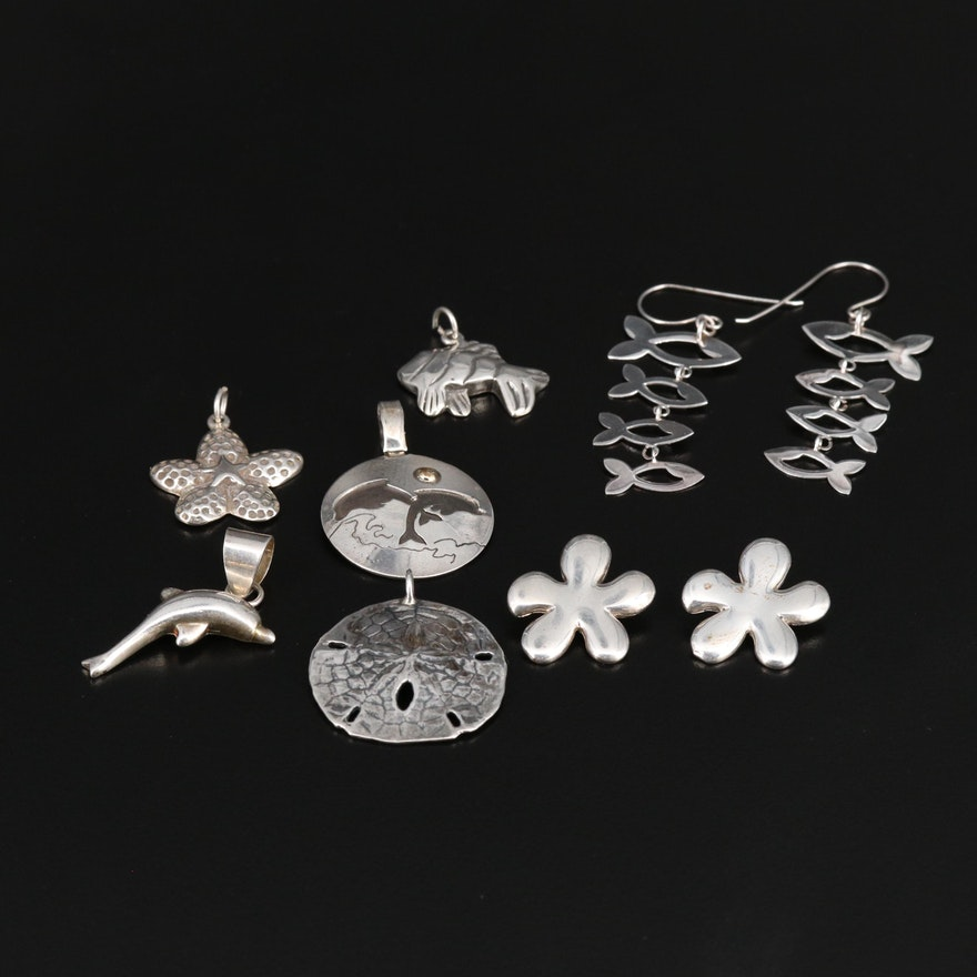 Sterling Silver Oceanic Themed Earrings and Pendants