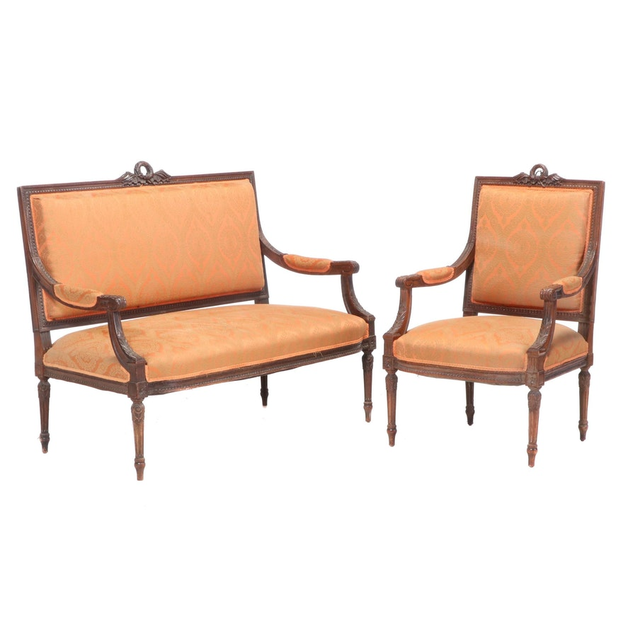 Two-Piece Louis XVI Style Walnut Salon Suite, Late 19th/Early 20th Century