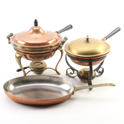 Sternau & Company Copper Chaffing Dishes and Paul Revere Copper Skillet