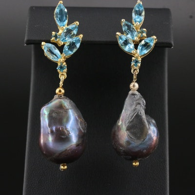 Sterling Silver Pearl and Blue Topaz Drop Earrings with Foliate Motif