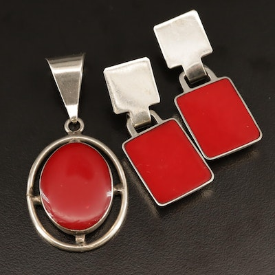 Vintage Mexican Sterling Silver Red Glass Inlay Pendant and Earrings