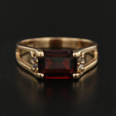 14K Garnet Ring with Diamond Accents