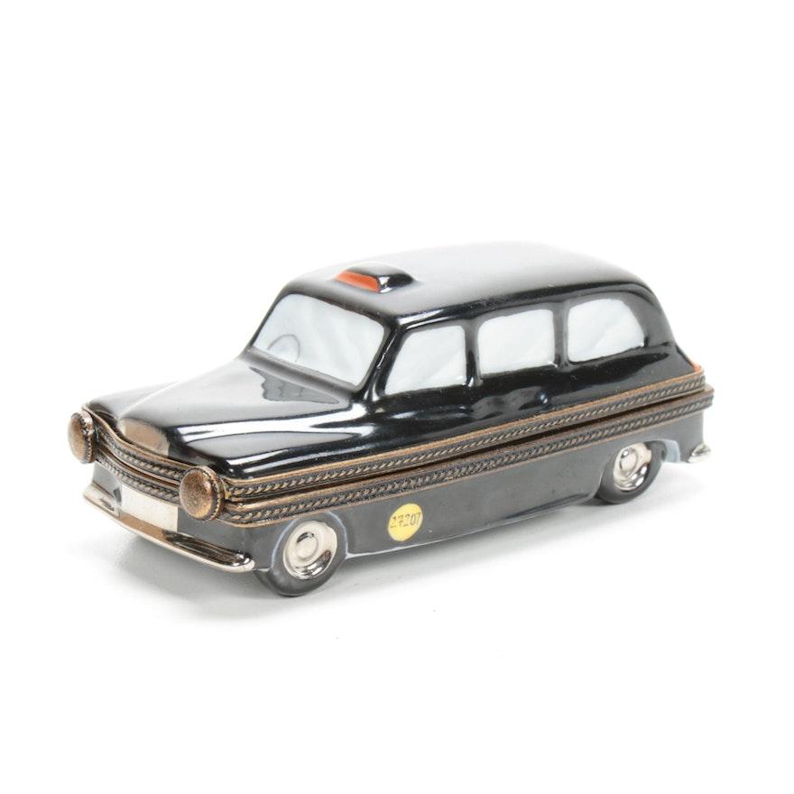 Hand-Painted Porcelain London Black Taxi Limoges Trinket Box