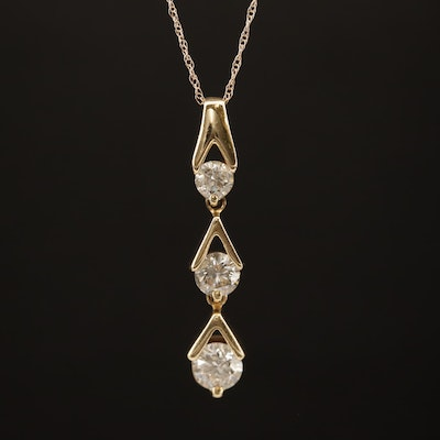 14K 1.00 CTW Diamond Graduated Drop Pendant Necklace