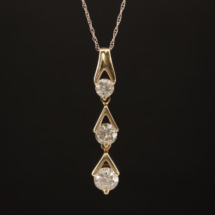 14K 1.00 CTW Diamond Graduated Drop Pendant Necklace