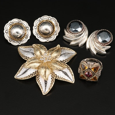 Sterling Silver Jewelry Including Filigree Flower Brooch and Button Earrings