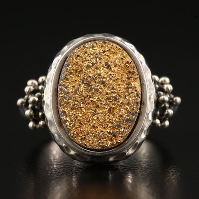 Michael Dawkins Sterling Silver Druzy Ring with Hammered Finish