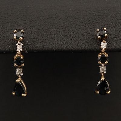 10K Sapphire and Diamond Dangle Earrings